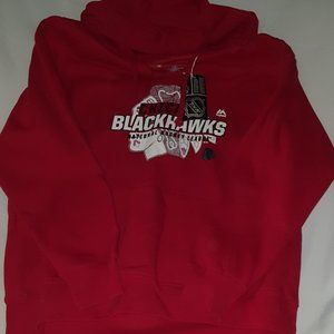 CHICAGO BLACKHAWKS Majestic Split Neck Hoodie NWT